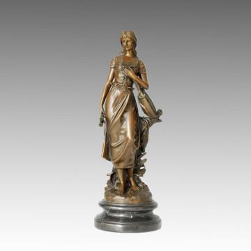 Femme Intérieur Décoration de La Maison Bronze Sculpture Chanteur En Laiton Statue TPE-482