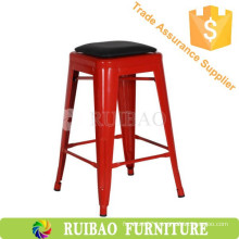 Industrial Iron Bar Stool Replica Metal Dining Chair with PU Seat Vintage Metal Bar Stool