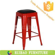 Tabucha de bar de metal industrial Réplica de cadeira de jantar de metal com assento PU Vintage Metal Bar Stool