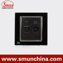 Black Telephone Port Wall Socket with Internet Port