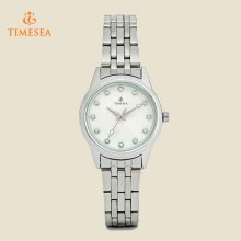 Elegant Waterproof White Dial Analog Silver Womens Quartz Watches 71158