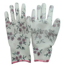 NMSAFETY belle agriculture picking gants 13 jauge fleur impression polyester doublure revêtement blanc PU gants de jardinage