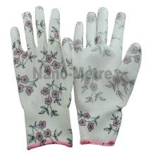 NMSAFETY agradável agricultura colheita luvas 13 gauge flor impressão poliéster forro revestimento branco PU luvas de jardinagem