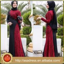 ATE16 estilo occidental Abaya elegante diseño superior Kaftan encaje rebordeado manga larga vestido de noche musulmán con Hijab