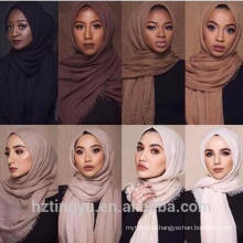 New style plain women head wear popular tassels bubble shawl crinkle hijabs
