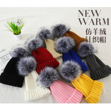 2017 new style 2*2 rib big fur pom pom cuffed imitation cashmere hat