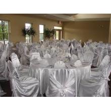 Self amarrado capa de cetim cadeira / cadeira de auto wraped capa para hotel do banquete de casamento