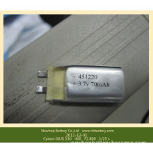 Small Size Lipo Battery 3.7V 70mAh Lithium Polymer Battery Pack 3.7V 70mAh 4.5mm*12.5mm*22mm for Wireless Keyboard Battery