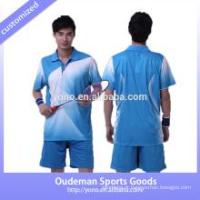 Ajuste seco e moda de alta qualidade personalizado badminton jersey projeta badminton para casais e com baixo preço badminton