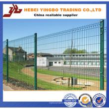 Clôture de treillis métallique enduite de PVC / 3 plie la barrière de grillage avec le poteau