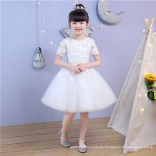 Elfenbein Spitze Short Sleev Blumenmädchen Kleid