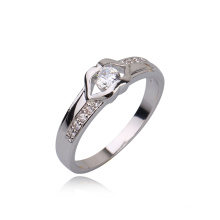 New White CZ Stone Wedding Rhodium Color Diamond Engagement Jewelry Ring -10590