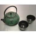 Japanischer Gusseisen-Tee-Topf-Cup-Set Grüner Bambus