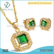 Dubai 18k banhado a ouro conjunto de jóias, brincos de cristal brincos e conjunto de jóias pendente
