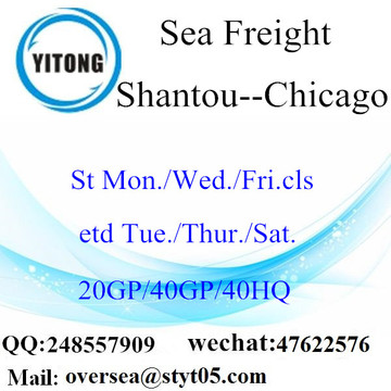Expédition de fret maritime de port de Shantou à Chicago