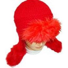 Зимняя трикотажная шапка с мехом