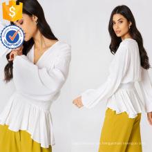 Ajuste flojo blanco con cuello en v cintura fruncida de manga larga con cuello en v blusa de verano Fabricación venta al por mayor ropa de mujer de moda (TA0034B)