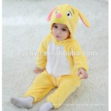 Weiche Baby Flanell Strampler Tier Onesie Pyjamas Outfits Anzug, Schlafanzug, süße gelbe Tuch, Baby Kapuzentuch