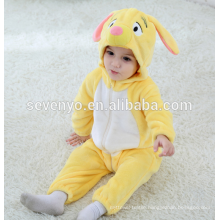 Soft baby Flannel Romper Animal Onesie Pajamas Outfits Suit,sleeping wear,cute yellow cloth,baby hooded towel