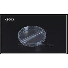 CE y FDA certificado de alta calidad 90 * 15 mm Dos-Compart Petri plato