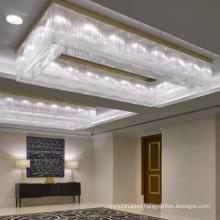 Luxury Large Custom Rectangular Modern Conference room low ceiling Crystal Chandelier Lighting
