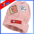 Cable Knit Folding Hat Beanie With Cable Pattern