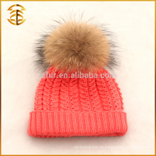 Venta al por mayor genuina bola de piel de mapache Pom Bobble Kids Beanie Hat