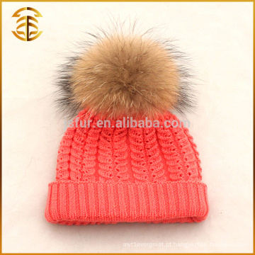 Atacado China Kids CC Beanie Crochet Knit Fur Pom Pom Hat