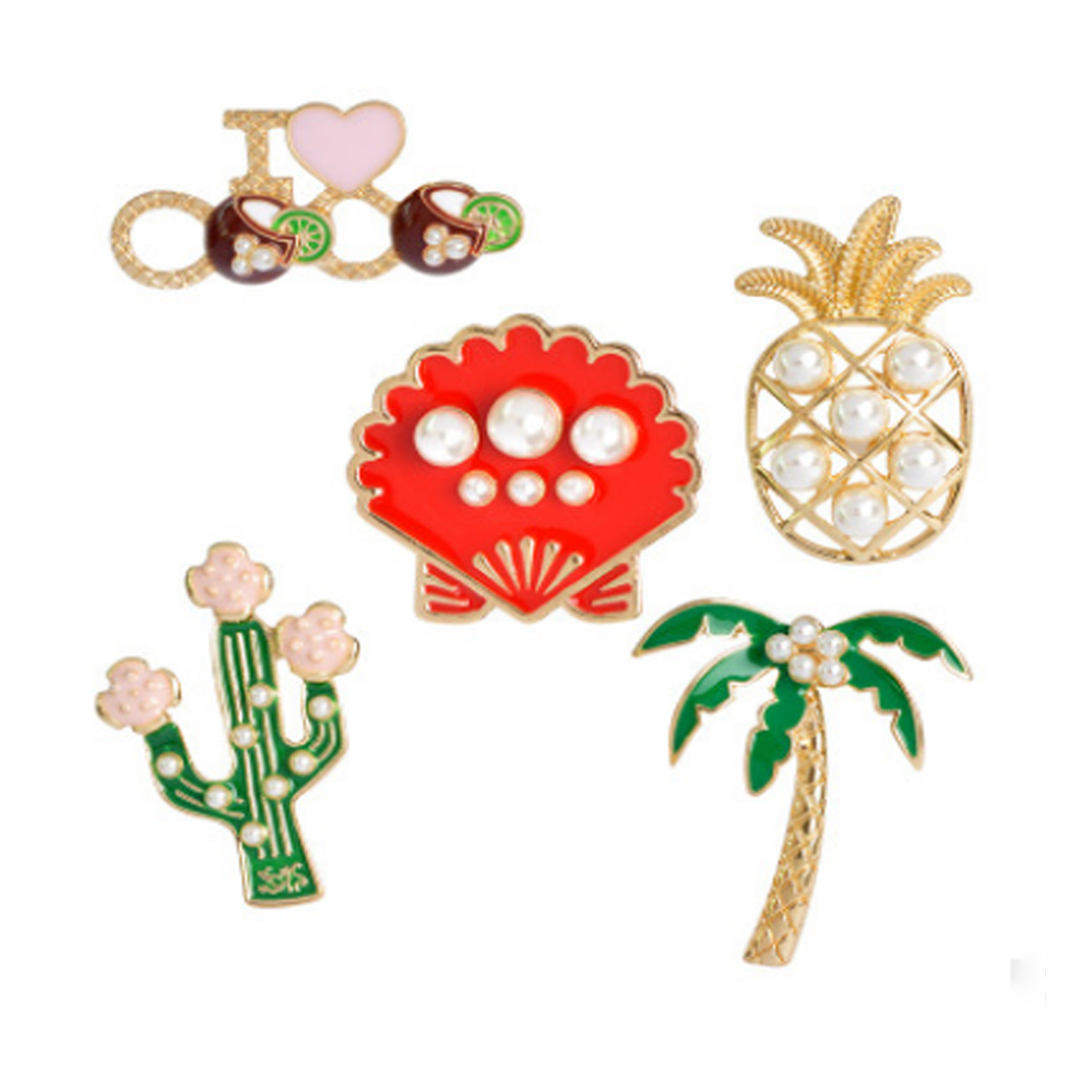 Enamel Lapel Pins Sets Cute Cartoon Plant Pearl Pineapple Badges Brooches for Clothing Bags Backpacks Jackets Hat Jewelry DIY Ac