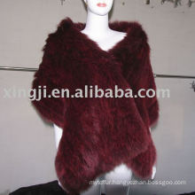 Dyed Knitted Fox Fur Shawl