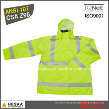 High Visibility Safety Wear Mens Reflective Rainwear with En20471