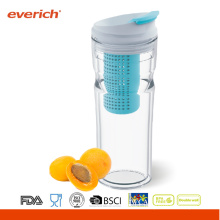 Everich Double Wall Clear water bottle With Flip Lid And Fruit Infuser