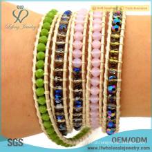 2016 venda quente beaded jóias bohemian multi multi envoltório pulseira de couro pulseira pulseira de couro