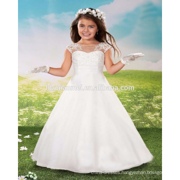 2016 factory supply high quality white color flower girl dress for wedding
