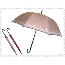 Black Edge Snowflake Printed Straight Umbrella (BD-32)