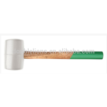 Mazo de goma blanca con mango de madera, martillo de goma