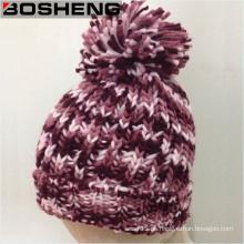 Hermoso color de moda de la señora Invierno Crocheted sombrero con POM