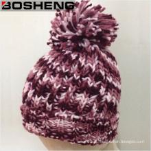 Senhora bonita Inverno Crocheted Hat da forma da cor com POM