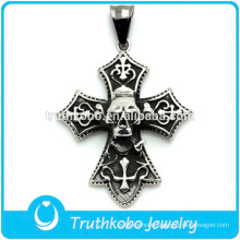 Silver celtic cross skull pendant stainless steel necklace soft gothic jewelry fashion man heavy ring
