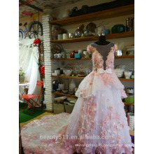 Princess Wedding Dress ball gown Royal Length Train Bateau Lace Organza Tulle with Flower Lace bridal gown P099