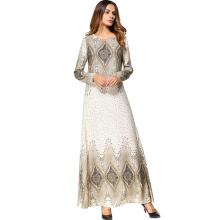 Middle eastern fashion modern women long sleeves geometric Islamic long casual maxi Muslim robe burqa tunic dress