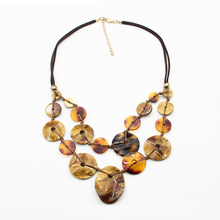 Boutique Leather string neck jewelry for women embellished acrylic double layer necklaces