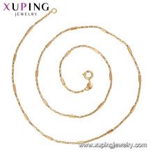 44362 xuping moda jóias made in china atacado Eco friendly materiais de liga de cobre simples colar de corrente com 18 k chapeado