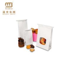 Kundengebundene kleine Siegelbäckerei-Lebensmittel-Verpackung Poly gezeichnete Snack-Papiertüte mit klarem Fenster für Plätzchen