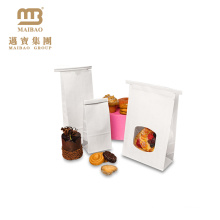 Customized Small Sealed Bakery Food Packing Poly Lined Snack Paper Bag With Clear Window For Cookies