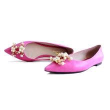Cuero plano de alta calidad de la piel de las ovejas de los zapatos de las mujeres de la moda