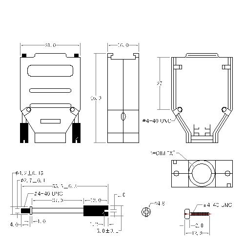 DBZH-09XX1 1 D-SUB METAL HOODS, 09P, H TYPE, SHORT SCREW