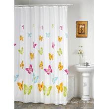 Waterproof Bathroom 100% Polyester Flower Printed Shower Curtain