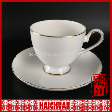 Elegant white tang suit ceramic royal bone china cup and saucer gold rimmed painted and for the coffee and bank promotion