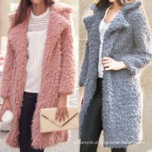Atacado de moda de alta qualidade mulheres casaco de pele de inverno